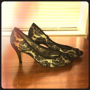 "Shoes - Open toe black lace 2"" heels"
